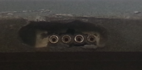 Closeup of the port on the skimmer
